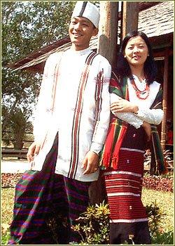 A couple in traditional Chin attire.