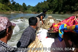 The four-day trip to reach the Khaung Sau ethnic group included navigating through river rapids.   The small boat nearly overturned after hitting a rock.