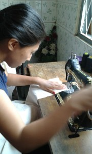 Working with a treadle sewing machine gives great control.