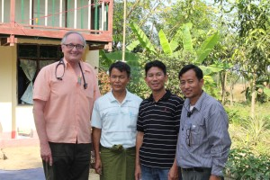 Dr. Dwain Illman of Bloomington, IN stands with Josiah, Joel and Simon.  The Myanmar Christian leaders provided the logistical support to make the FAME Medical Mission to Myanmar so successful.  Josiah and Joel are part of the leadership team of Asian Children's Mission.  Simon leads other missions within Southeast Asia.